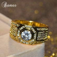 Bamos Unique Geometric Zircon Ring Fashion Gold Color Engage