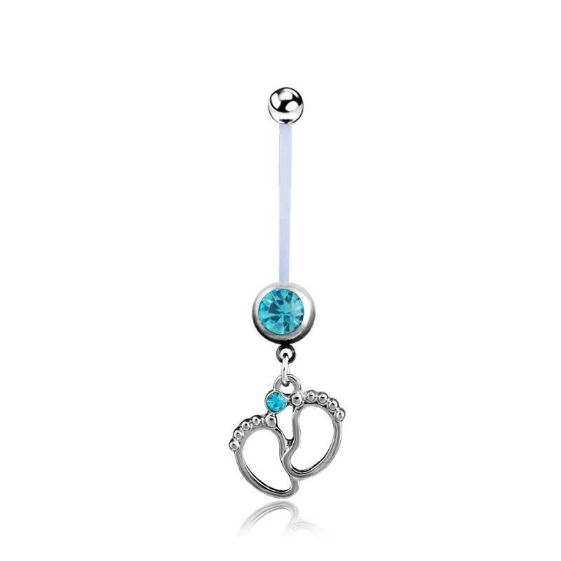 נשים גמיש תינוק קריסטל רגליים טבור בהריון בטן טבעת פירסינג תכשיטי אופנה מתנה C77