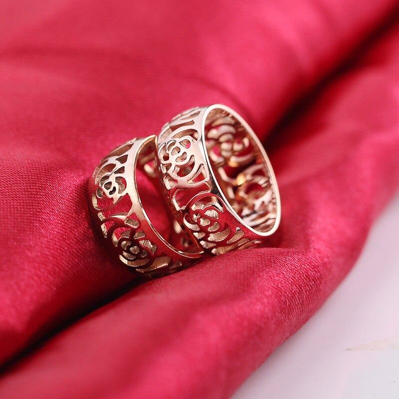 Выдалбливать камелии нержавеющей Titanium стали ювелирные изделия кольца позолота украшения из золота стали Любовь палец кольцо Titanium для женщ...