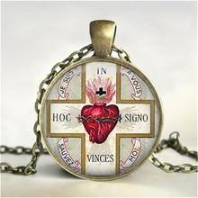 SACRED HEART Pendant Necklace. Sacre Coeur. Flaming Heart. Jesus Christ Religious Necklaces Pendants HZ1