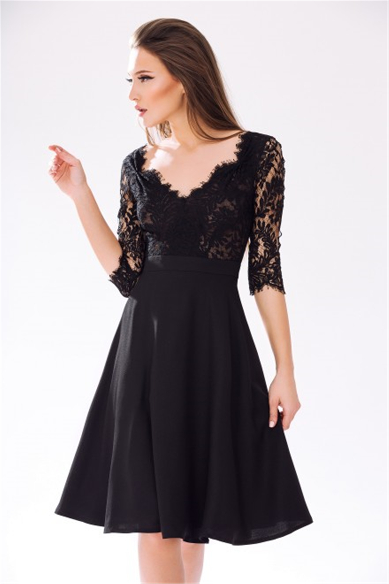 2015 Sexy Black Lace Chiffon Cocktail Dress Short Women Formal ...