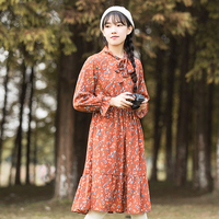 Mori Fille Douce Fleurs Robe 2018 Nouveau Printemps Femmes À Manches Longues Imprimé floral Robes En Mousseline avec Chandail 2 Pièces S