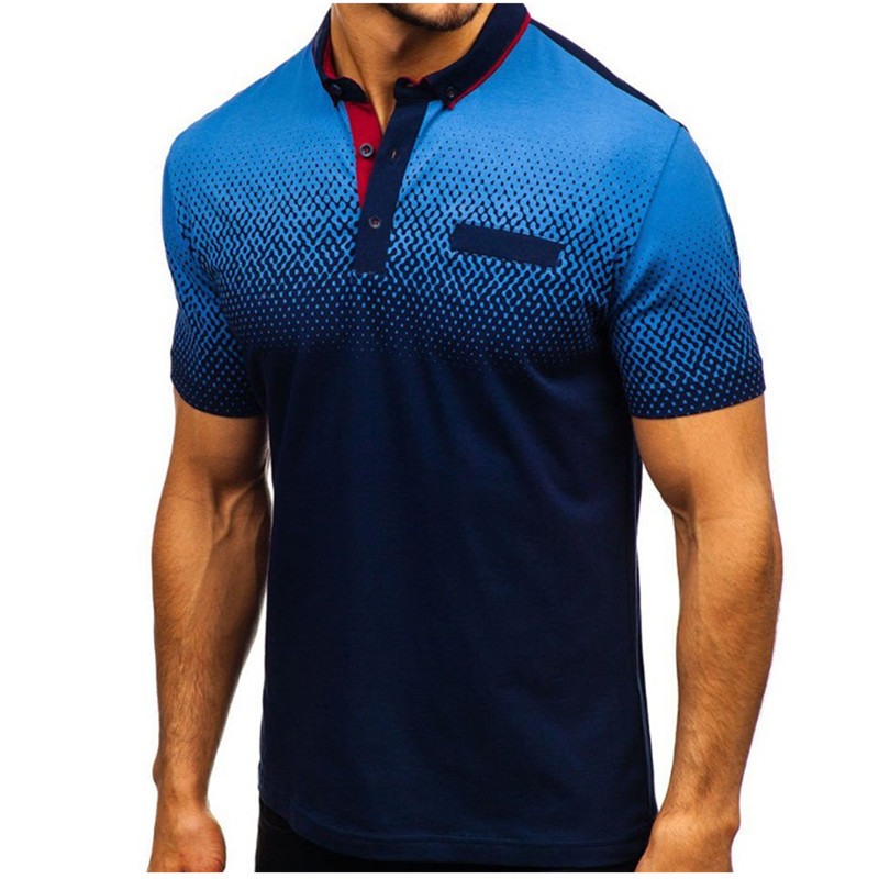 2019 foreign trade hot style men's   polo   summer 3D printed short-sleeved   polo   men's European and American   polo   shirt lape