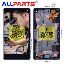 """Оригинальный 4.6 """"1280×720 Экран для Sony Xperia Z3 компактный Дисплей ЖК-дисплей Сенсорный экран с Рамка audio jack/ динамик D5803 D5833"""