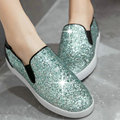 Green Sequin Ladies Autumn Shoes Heel Woman Flat Shoes PU Leather Mixed Color Fashion Women Ballet Flats  Size 34-39