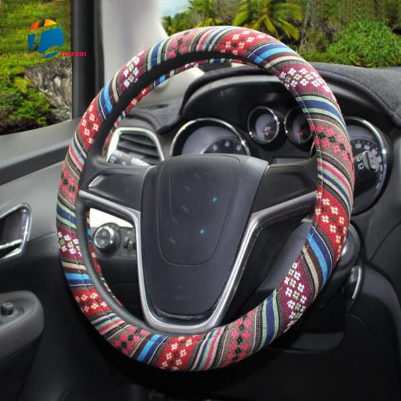 Taitian Fashion National Style Steering Wheel Cover fit Diameter 38 cm Universal SUV Car Steering Protect Cover Car Styling
