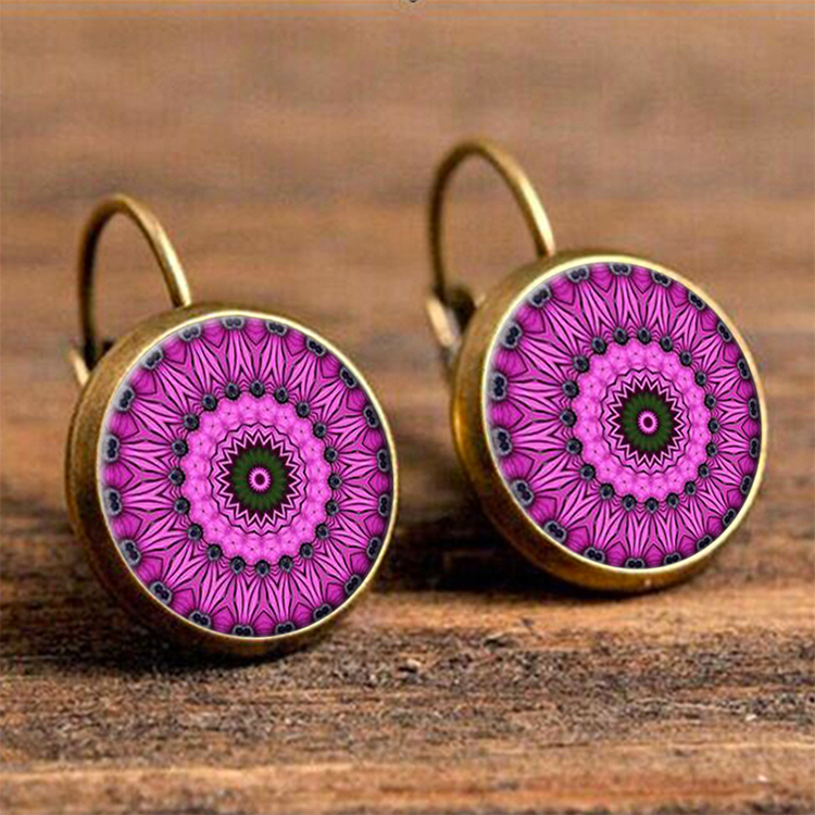Flowers Antique Gold Color Drop Earring for Women Bohemian Round Ear Pendant Resin Hanging Earing Indian Jewelry Brincos 2018 in Drop Earrings from Jewelry Accessories