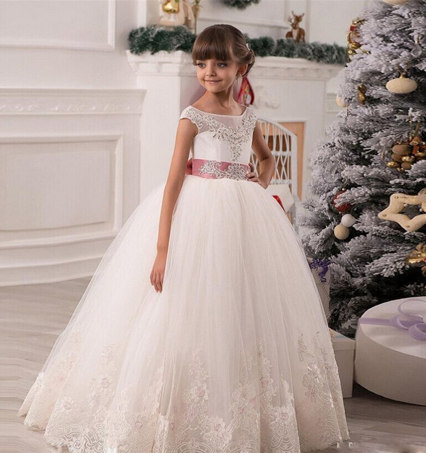 Flower Girl Dresses For Garden Weddings: White Ball Gowns Flowergirls Glitz Girls Pageant Flower