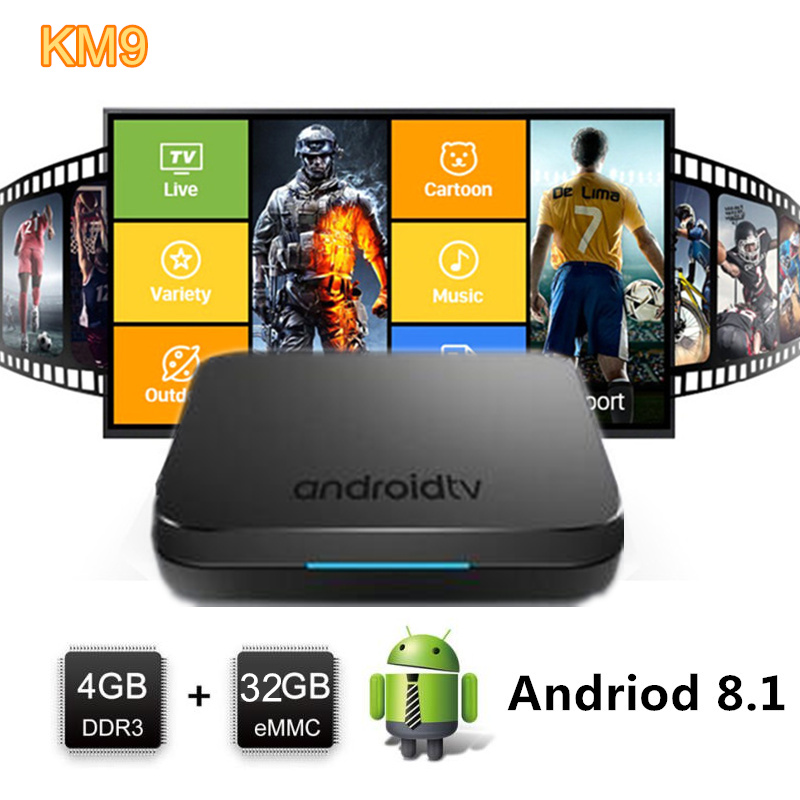 Mecool km9 android tv box 4k android 8.1 tvbox 4gb 32gb rom amlogic s905x2 lpddr4 2,4 GHZ/ 5,8 GHZ WiFi BT4.2 smart tv set-top box