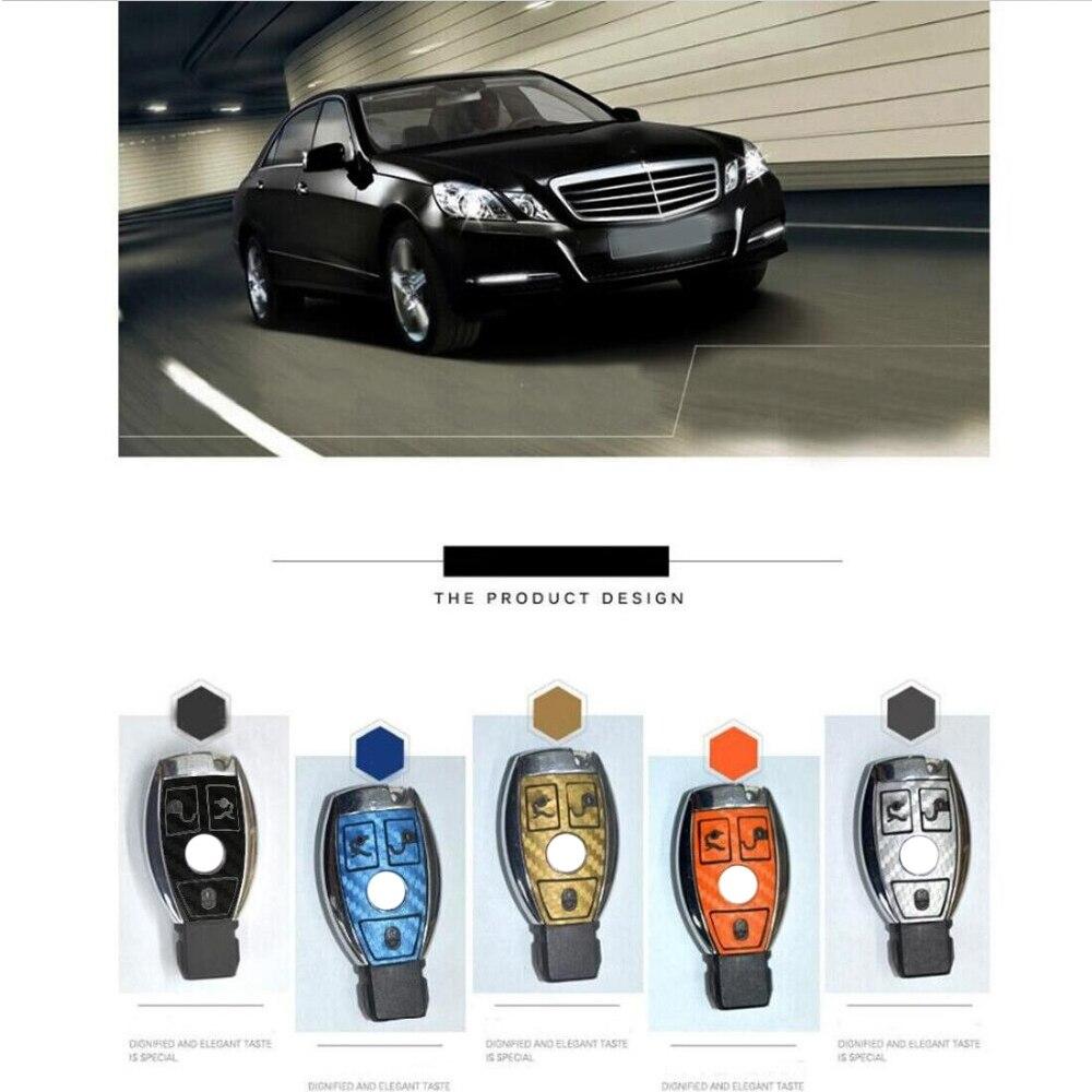 High Quality Car Styling Stickers For Mercedes Benz C Class C200L E Class E200 Car Key Sticker Carbon Fiber Car Key Decals 2Pcs