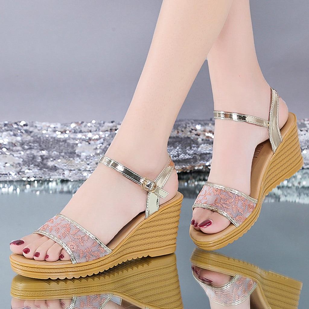 Casual Wedges Sandales Shoes Strap Buckle Breathable Femme Peep-Toe Women Xb35