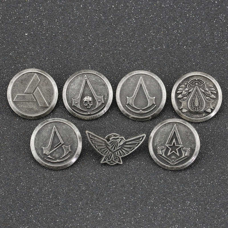 Assassins Creed Bros Pin Abstergo Knights Templar Master Eagle Logo Lencana Altair Ezio Connor Desmond Permainan Perhiasan Grosir