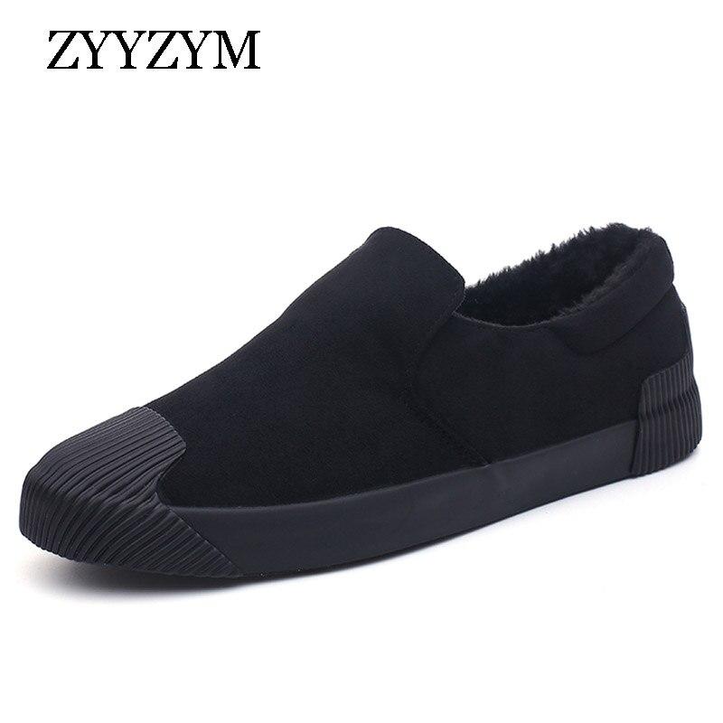 49bffbd0feb ZYYZYM Men Vulcanized Shoes Slip-On Autumn Winter Style Plush Keep Warm  Comfortable Top Fashion
