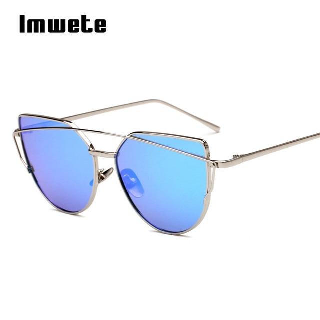 Imwete Mulheres Olho de Gato Óculos De Sol Do Metal Twin-Vigas Óculos Revestimento de Espelho Óculos de Sol Clássico Marca Designer Plano Lente Painel