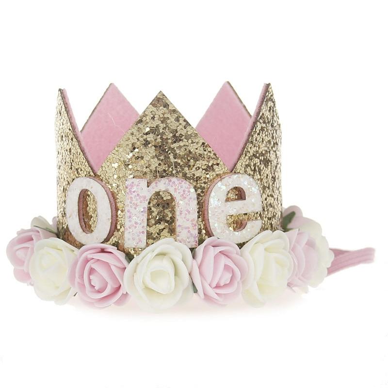 Искусственная нежная мини-фетровая блестящая корона с цветком повязка на голову для дня рождения Сделай Сам одежда для волос декоративные аксессуары - Цвет: Светло-розовый