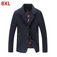 Automne graisse 8XL Kaki hommes veste plus la taille seule rangée gros taille d'affaires décontractée manteau revers boutons Grande taille veste