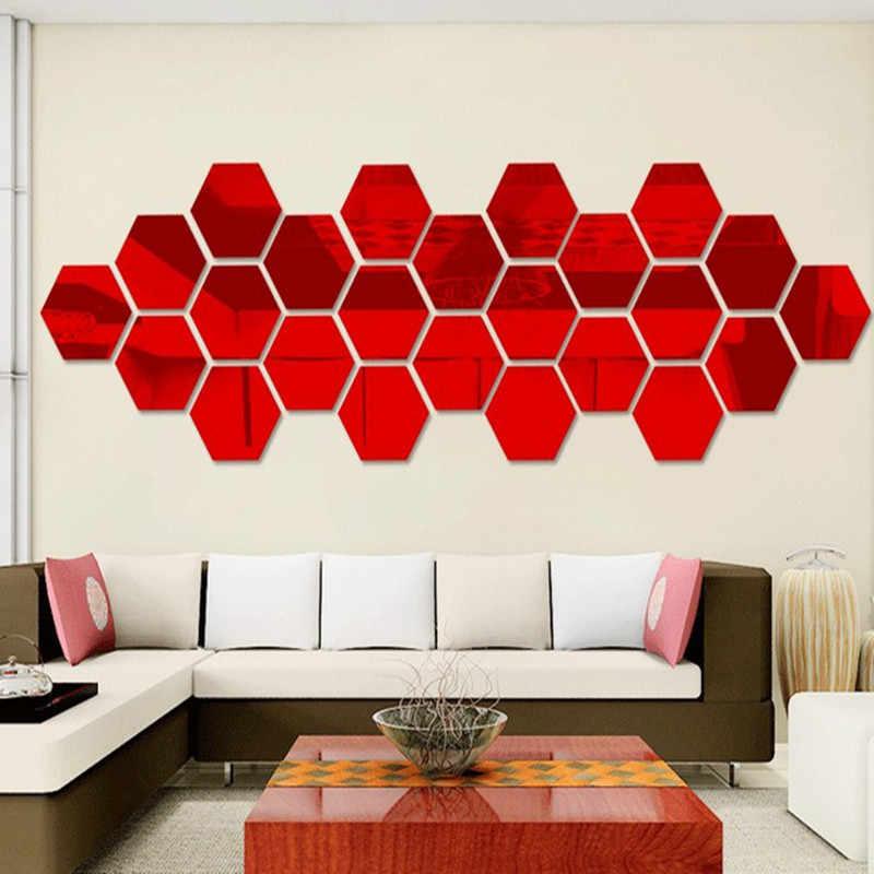 12 Uds 8*7 CM/4,6*4 CM pegatinas 3D acrílicas de espejo DIY hexágono pegatinas de pared artística para la habitación de los niños sala de estar decoración del hogar plata