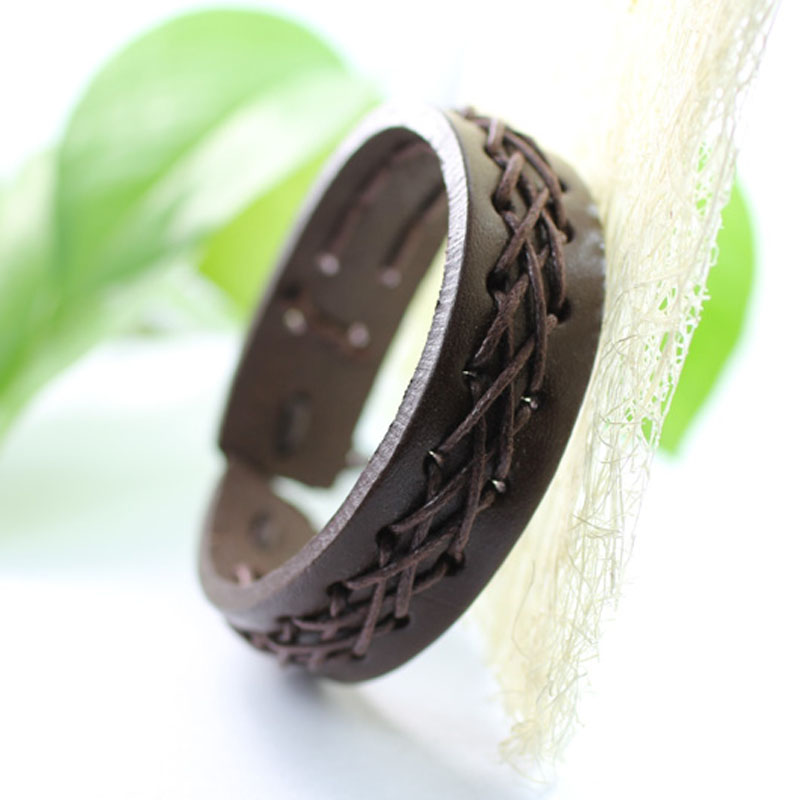 made of Leather Bracelet men homme Rope Hand Woven Bracelet For masculina Rope Braided B ...