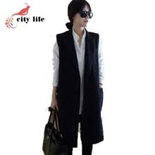 2016 Spring Autumn Women Blazer Vests Plus Size 3XL Suit Waistcoat Sleeveless Black Long Vest Suits Gilet Sans Manche Femme