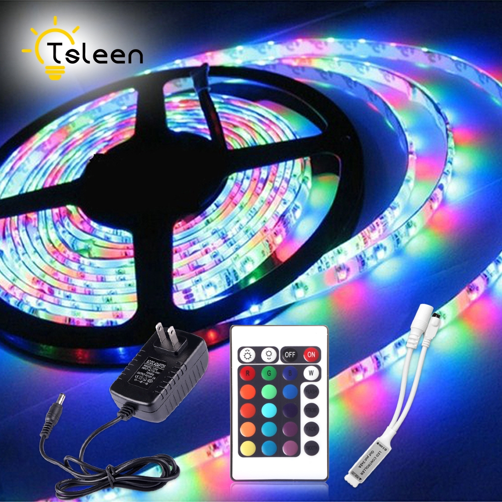 IR Remote Control 5050 RGB LED Strip Waterproof 5M 300LED DC 12V LED Light Strips Flexible Neon Tape Add Remote and 12V 2A Power sale multicolor glow neon wireless remote motorcycle rgb 5050 led smd flashing light 12 strips waterproof 15 color