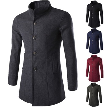 4 colors 2018 Autumn winer keep warm men's Woolen&blends Coat Fashion Long Jackets Slim Fit Wool Stand collar Coats MQ437