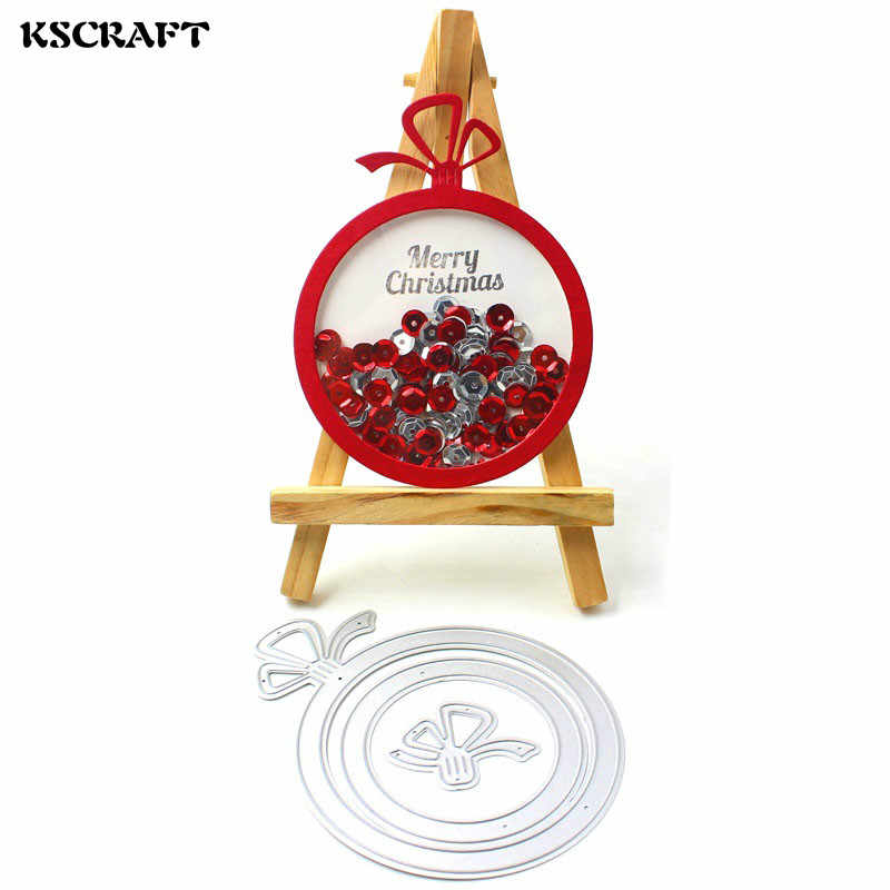 KSCRAFT 2018 Merry Christmas Ornament Shaker Card Metal Cutting Dies for DIY Scrapbooking/Card Making Decoration Craft Supplies