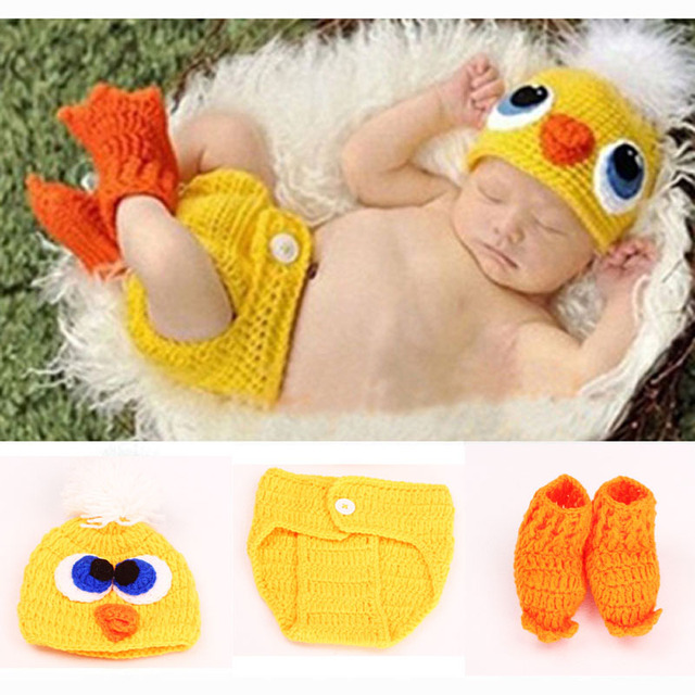 Duck Crochet Knit Baby Hat And Diaper Cover Shoes Costume Outfit
