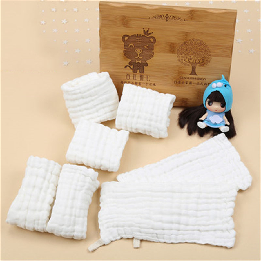 Muslin Cotton Newborn Towels Infant Wipes Luxury Bamboo Solid Cleaning Supplies Baby Face Towel Feeding White Cute 70A0192