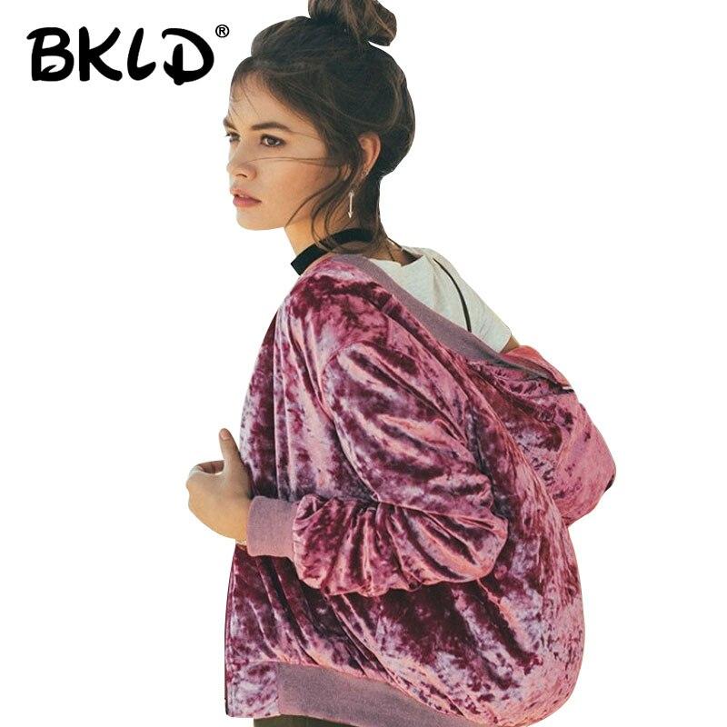 BKLD 2017 New Fashion Velvet Coats Women Autumn Winter Long Sleeve Female Zippers Outwear Streetwear Solid Color Bomber Jackets