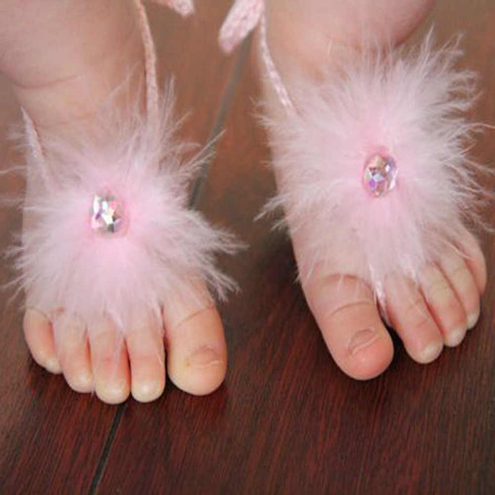 1-36M Baby Girls Feather Flower Pearl Barefoot Flower First Walker Baby Girl Feet Decoration Accessory Multi Colors for Choosing