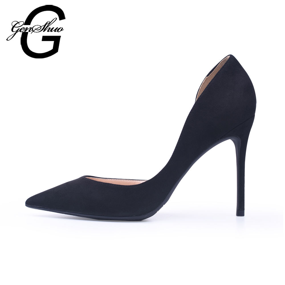 GENSHUO Women Shoes High Heels Black D'Orsay Flock Pumps Nude Red Wedding Party Shoes Thin Heels Small Size 32 Plus 44 45 46 armoire 2015 new elegant women wedding pumps black red purple beige ladies high heels nude shoes ay018 plus big size 32 43 48