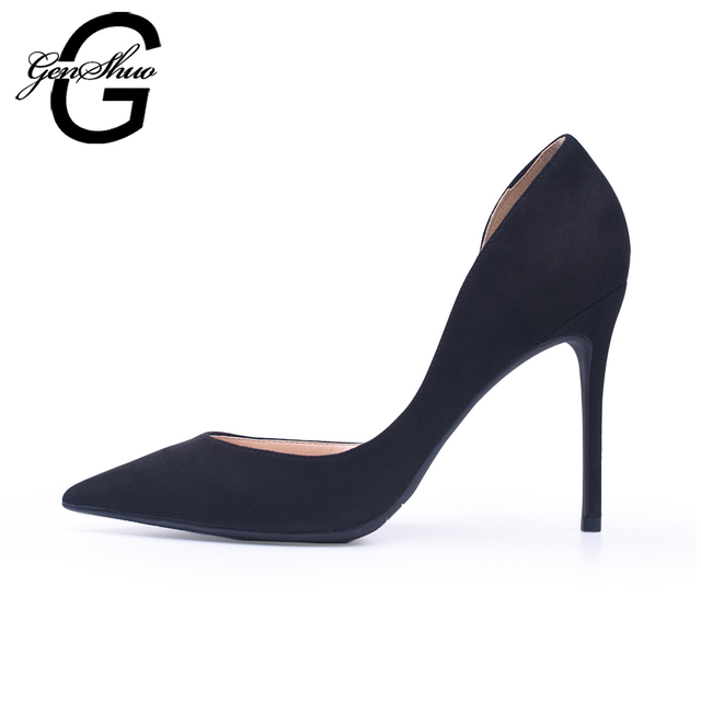 GENSHUO Women Shoes High Heels Black D'Orsay Flock Pumps Nude Red Wedding Party Shoes Thin Heels Small Size 32 Plus 44 45 46