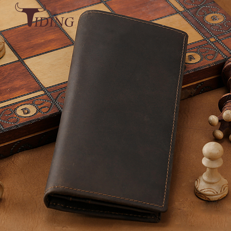 2018 New Genuine Leather Men Wallets Business Brand Card Holder Coin Purse Multi-Card Bit Long Wallet Clutch Carteira Masculina