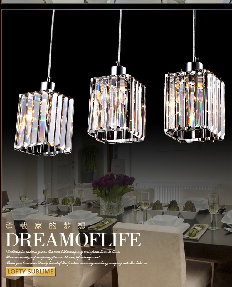 Free Shipping Kitchen Bar Pendant Light Dining Room 3 Lights Restaurant Modern Crystal Lamps Hanging Lighting In From