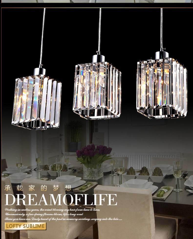 free shipping kitchen bar pendant light dining room 3 lights restaurant modern crystal pendant lamps hanging crystal lighting