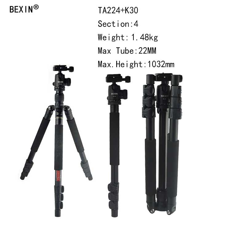 BEXIN Camera Professional Travel Portable Aluminum Tripod  Stand With Head Max Height 1420mm For DSLR Digital CameraBEXIN Camera Professional Travel Portable Aluminum Tripod  Stand With Head Max Height 1420mm For DSLR Digital Camera