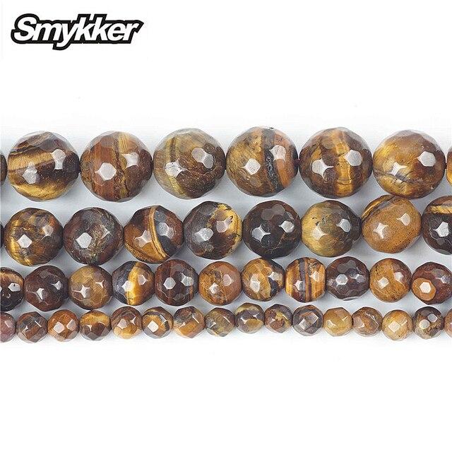 Perles en forme doeil de tigre en pierre naturelle à facettes chaudes Agate perles rondes en vrac 15