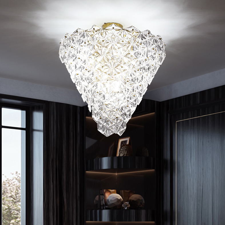 Modern Crystal Glass Ceiling Lights Fixture LED Light American Snow Flower Ceiling Lamps Bed Living Room Home Indoor Lighting - 3