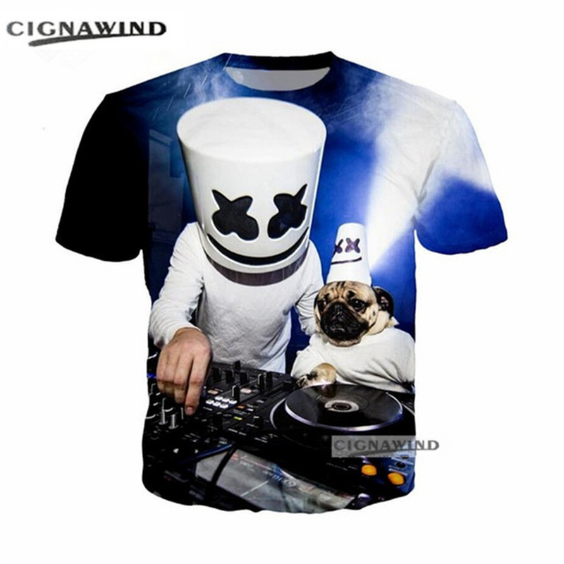 Frank New Music Dj Singer Marshmello 3d Printed Men/women T-shirts Summer Tops Harajuku Short Sleeve Funny T Shirts Hip Hop Streetwear Elegant Shape T-shirts