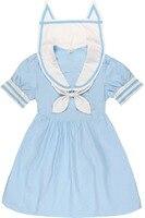 Japanese Harajuku Lolita Cat Orecchiette Sailor Collar Dress Blue Pink Cute Kawaii Sweet Sailor Kitten Dress