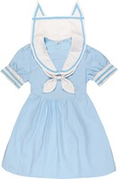 Japanese Harajuku Lolita Cat Orecchiette Sailor Collar Dress Blue Pink Cute Kawaii Sweet Sailor Kitten Dress