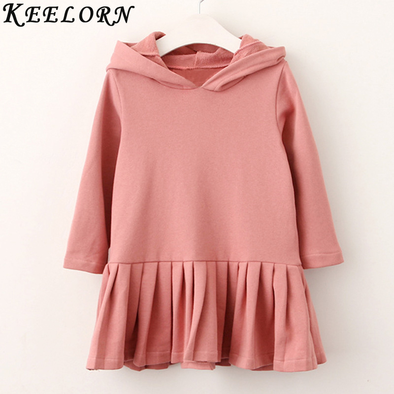 Keelorn Girls Dress 2018 autumn winter girls clothes casual style hooded princess dress baby girls dress for 2-6y New arrive