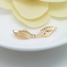 10PCS 16x7MM 24K Champagne Gold Color Plated Brass Angel Wings Charms High Quality Diy Jewelry Accessories wings amulet pendant angel wings charms rose wings charms diy handmade jewelry charms tibetan silver tone a2022 10pcs