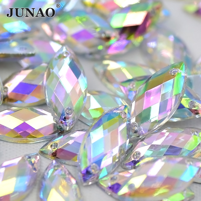 JUNAO 7x15mm Crystal AB Sew On Acrylic Rhinestones Horse Eye Flatback Crystal Sewing Stones Golden Strass for Clothes Crafts