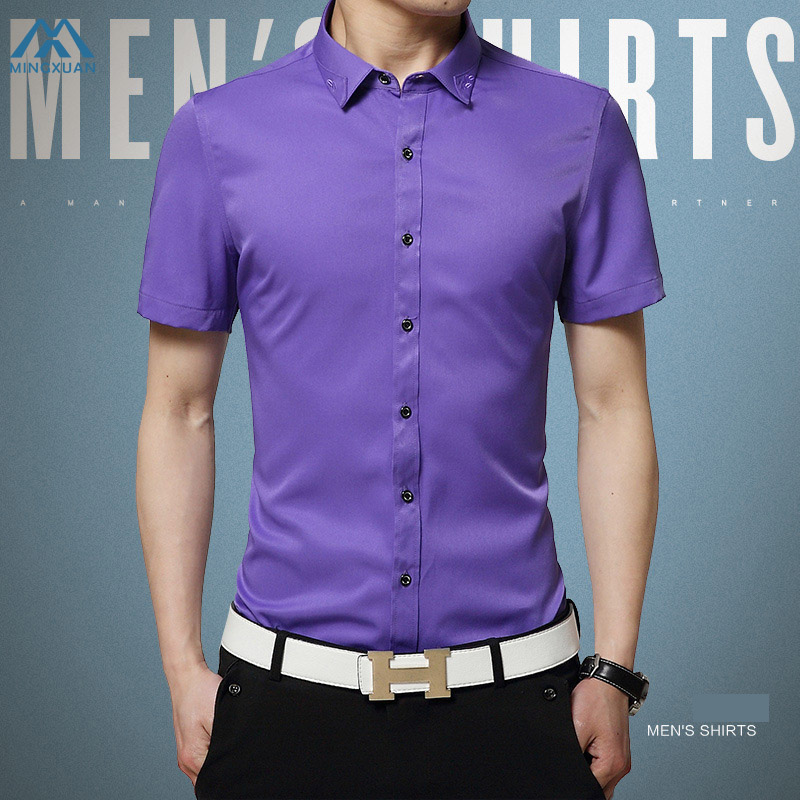 Mens Shirts Dress High Quality Male Casual Comfort Clothes Men Pure Color Short Sleeved  ...