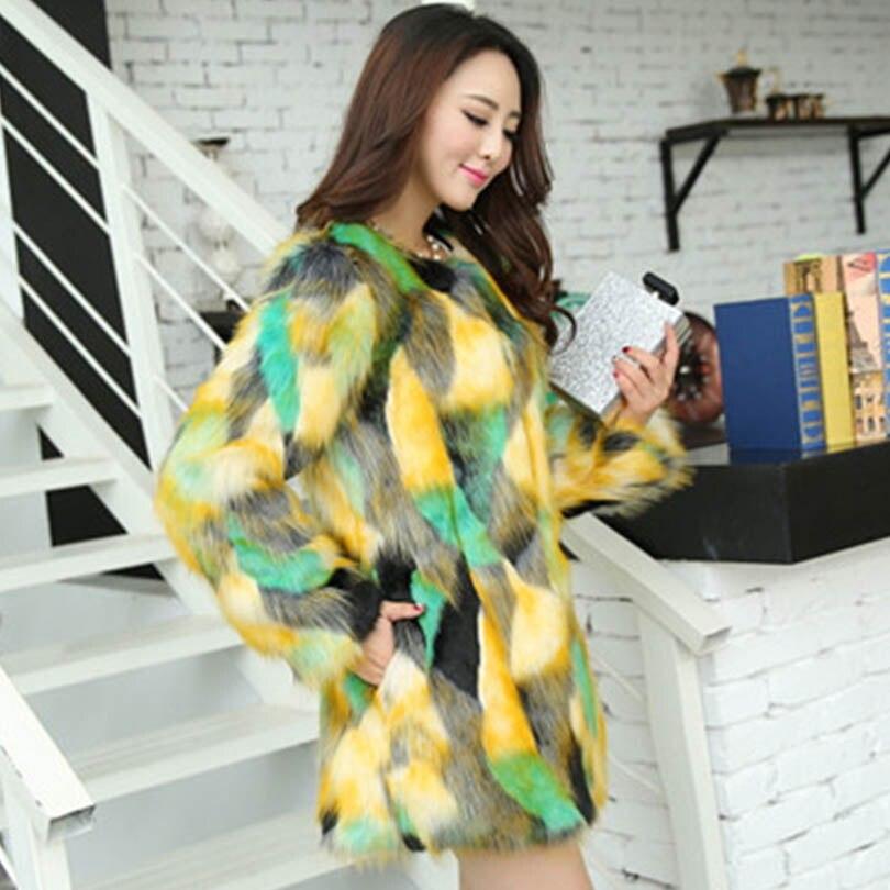 Invierno Cómodo Formal Cardigan Mix verde Casual Suave Fur Largo Piel Visón De Chaqueta Mujeres Abrigos Rojo Color Faux qtR6nwRz