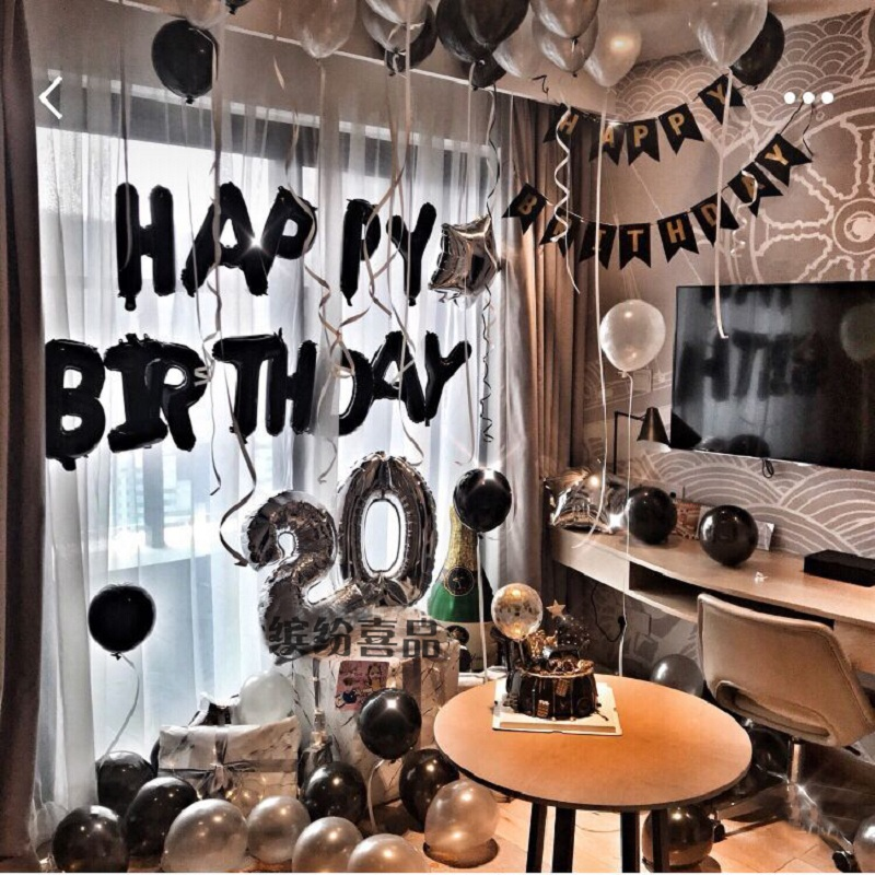 Black Gold Happy Birthday Banner Balloons With Helium Number Foil Balloon for Baby Party Decorations 4