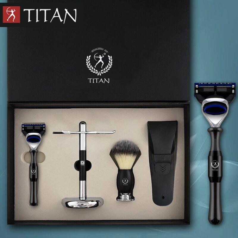 Güzellik ve Sağlık'ten Jilet'de Titan tıraş bıçağı seti 5 katmanlı bıçak metal kolu porsuk saç fırçası berber jilet tıraş kiti hediye'da  Grup 1