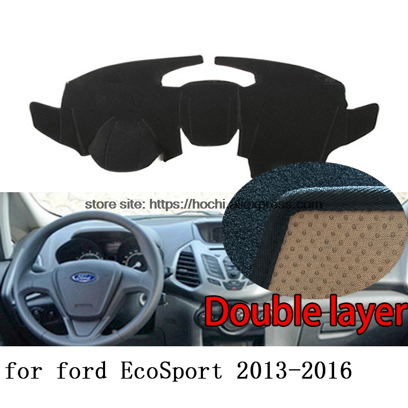For ford Ecosport 2013-2016 Double layer Silica gel Car Dashboard Pad Instrument Platform Desk Avoid Light Mats Cover Sticker for toyota crown 2004 2016 double layer silica gel car dashboard pad instrument platform desk avoid light mats cover sticker
