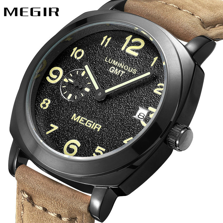 MEGIR Fashion Casual Men Quartz Watch Second Dial Brown Genuine Leather Strap Arabic Number Date Display Concise Wrist Watches bronze cool full hunter anchor pirate design theme fob pocket watch quartz roman number dial casual fashion chain best gift kids